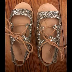 Zara silver glittery sandals